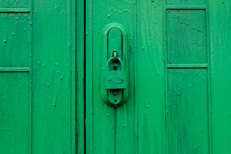 green door: Green door with lock