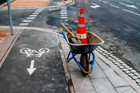 repairs: Repairs on the bike path