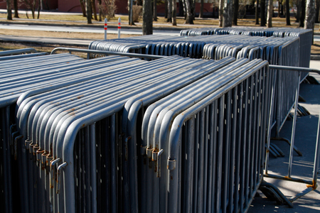 metal fence: Metal fence folded