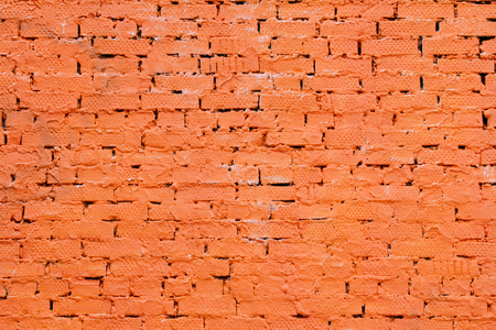 untidiness: Red painted brick wall Stock Photo