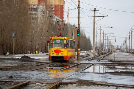 Volzhskij, Volgograd Region, Russia - February 21, 2010: Old soviet tram model KTM-5M3 (71-605) in Volzhskij. Editorial
