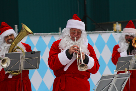 Moscow, Russia - January 03, 2013: Santa Claus band performs Christmas carols in Park Gorkogo in Moscow.