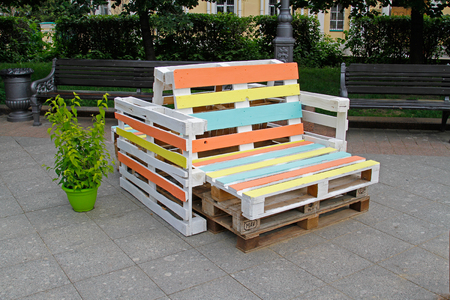 Colorful furniture made of pallet for sitting