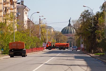 Volgograd, Russia - May 01, 2011: Road closures ahead of holiday in Volgograd
