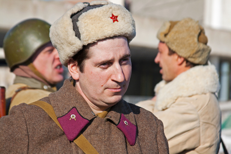 Volgograd, Russia - January 30, 2011: Portrait of actor dressed as Russian Soviet soldier of World War II in reconstruction of the capture of field Marshal Paulus in Volgograd Editorial