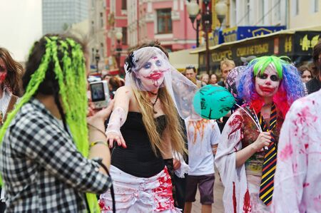 Moscow, Russia - May15, 2010: People dressed as a zombie at Zombie Parade on Arbat in Moscow Editorial