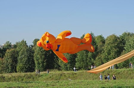 Moscow, Russia - August 27, 2016: Huge orange bear kite at the kite festival in the Park Tsaritsyno in Moscow