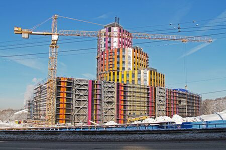 Vidnoe, Moscow region, Russia - February 14, 2019: Construction of a new shopping center