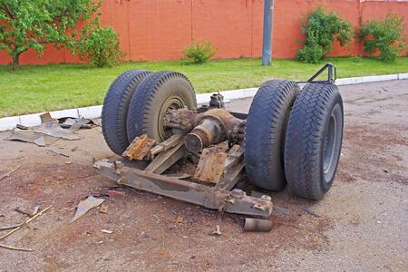 Disassembled from the body rear axle of passenger freight transport assembly