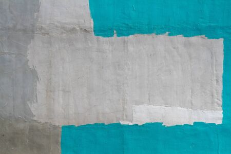 Colorful (gray, turquoise and white) concrete wall as background, texture Stock Photo