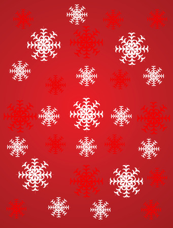 Abstract Christmas background with snowflakes on a  red background Illustration