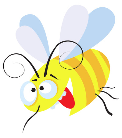 Flying  crazy bee isolated on white Illustration