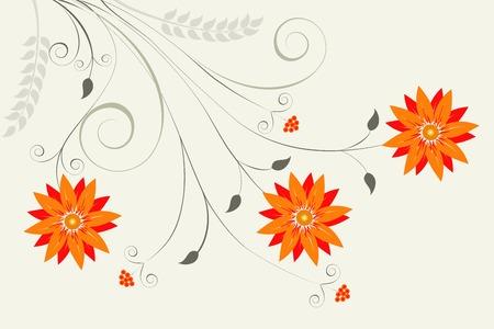 Abstract orange floral on a light grey background for your design Illustration