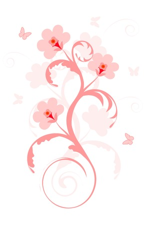 Pink flowers and pink butterflies on a white background Illustration