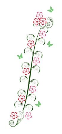 Abstract flowers with butterfly isolated on white Illustration