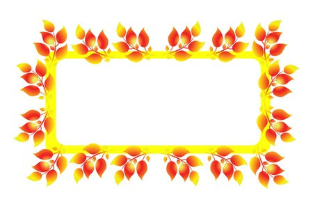 Abstract yellow frame with leaves isolated on white