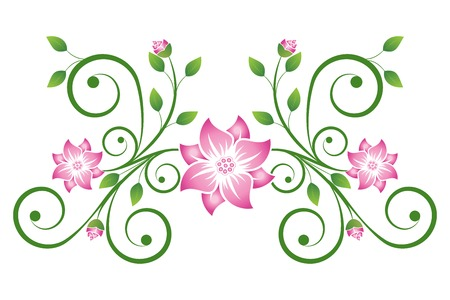 Scroll with flowers and leaves isolated on white