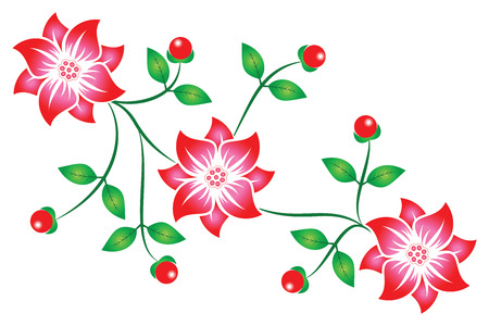 Red flowers background with leaves and berry