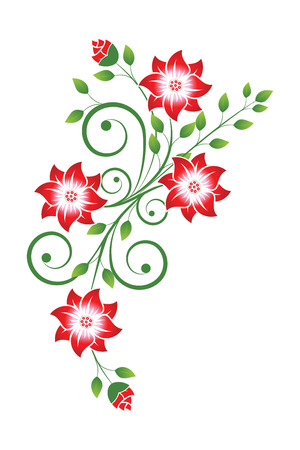 flowers with scrolls and leaves on white Illustration
