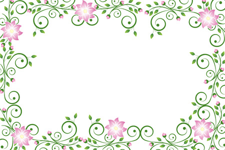 Floral frame with flowers isolated on white
