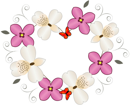 Flower heart with butterfly isolated on white Illustration