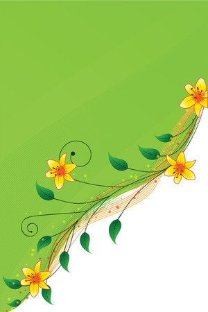 Abstract background with orange lilies on a green background