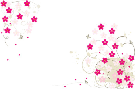 Grunge  flower background with butterfly, element for design