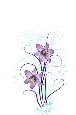 Grunge flower background with purple lilies, element for design