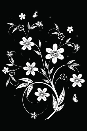 black branch: Abstract background with flowers and butterfly Illustration