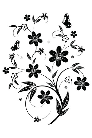 Abstract flowers isolated on white, element for design