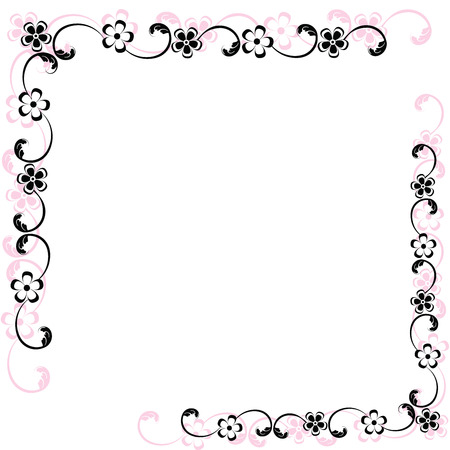 pink and black: Border with black and pink floral, illustration