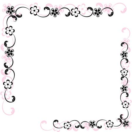 grens: Grens met zwart en roze bloemen, illustratie