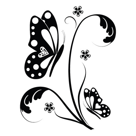 curled: Beautiful butterflies and flowers