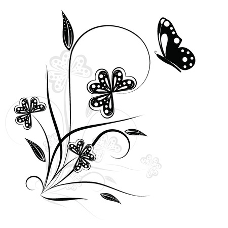 Floral element for your design isolated on white Illustration