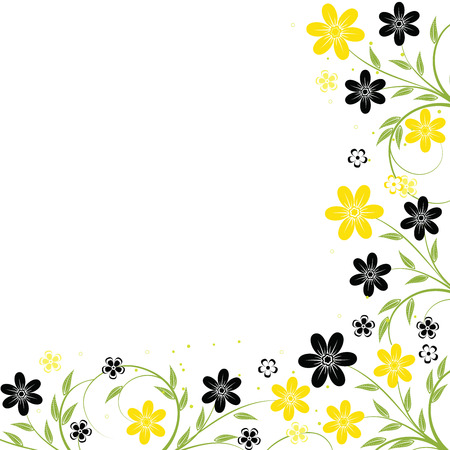Floral frame with yellow flowers, element for design