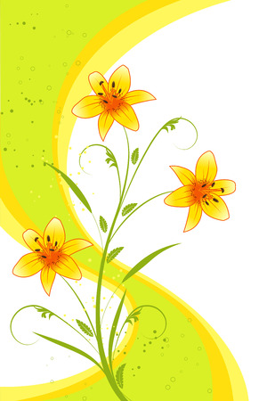 Abstract background with lilies and strips, element for design Illustration