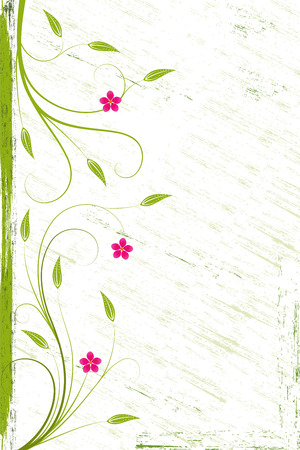 Grunge flower background with red flowers and scroll, element for design