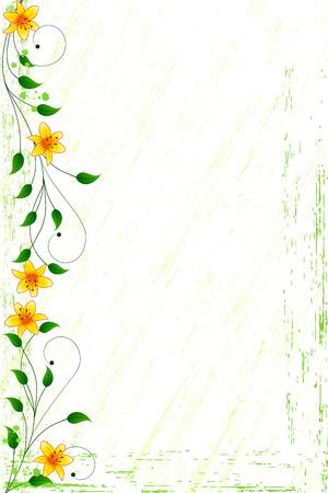 de lis: Fondo floral de grunge con lirios naranjas y pergaminos