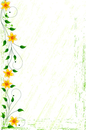Grunge floral background with orange lilies and scrolls