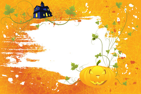 Grunge halloween background with pumpkin, house and scroll, vector illustration