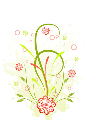 Grunge floral background with red flowers and scroll,  illustration Illustration