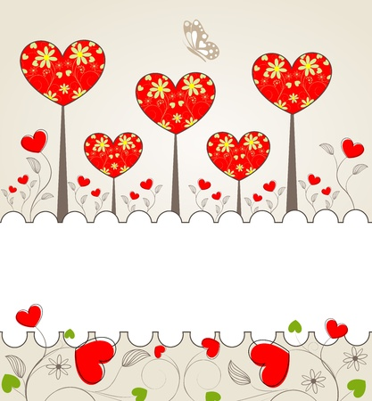 Abstrackt Valentine background with a floral and hearts for your design, vector illustration
