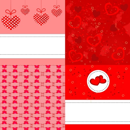 Four colorful greeting background with hearts your design Illustration