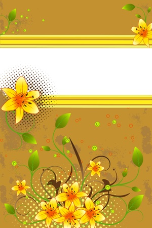 Abstract  background with orange lily, stripes and scroll, vector illustration