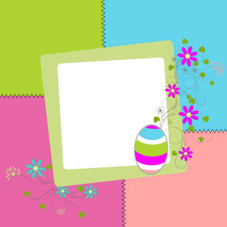 Easter  colored card with egg, flowers, leaf and scroll, illustration