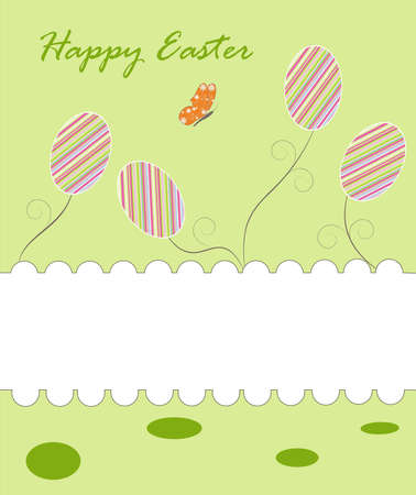 Greeting easter background with eggs, scroll and butterfly,  illustration Illustration
