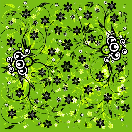 Abstract  background with flowers, scroll and leaf ,illustration