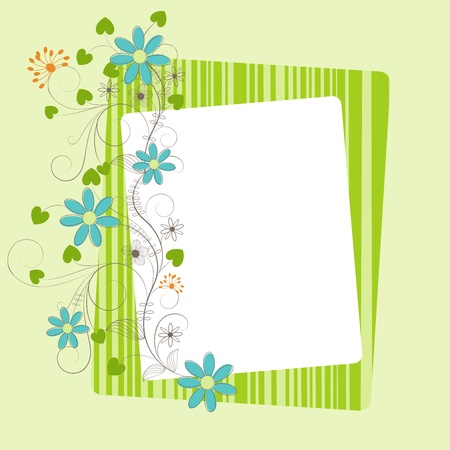 Greeting background with flower, leaf, scroll and frame, illustration Vector