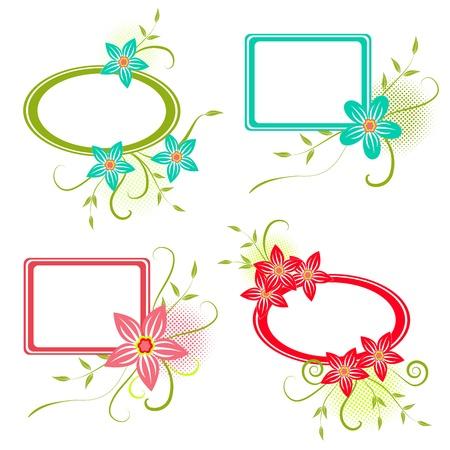 Four colorful  frame for your design, illustration