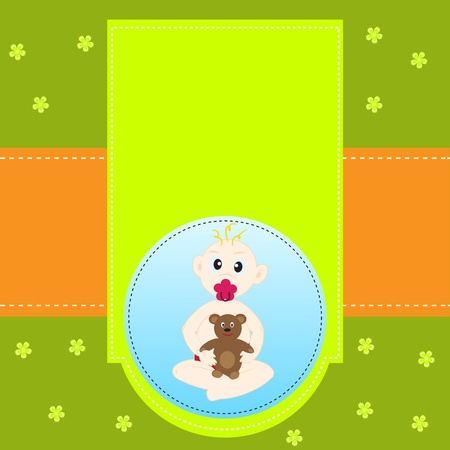 Beautiful greeting background with baby, bear and flowers for your design Vector